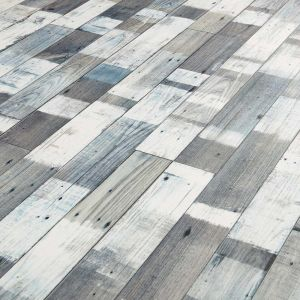 Snow Painted Wood Sheet Vinyl Flooring Roll With Reclaimed Planks