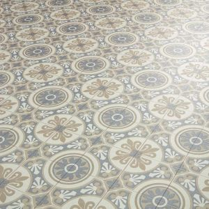 Moroccan Tile Effect Sheet Vinyl Flooring In Beige And Grey Pattern
