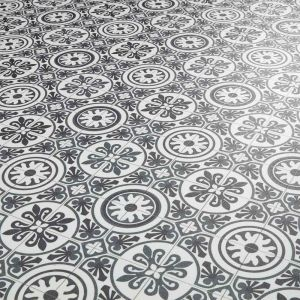 Black And Grey Moroccan Tile Effect Vinyl Flooring Sheet Lino For Kitchens And Bathrooms