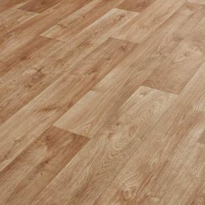 Medium Oak Wood Effect Vinyl Flooring Atlas Tavel 535 Sheet Lino