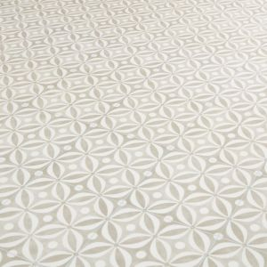 Natural Cement Tile Effect Cushioned Vinyl Flooring Topaz Natural