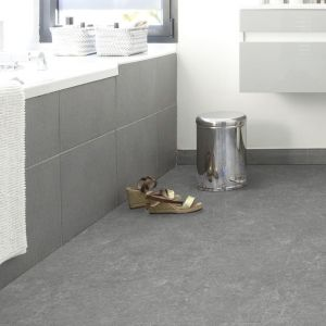 universal rigid spc click with underlay attached in dark grey slate design with underlay attached