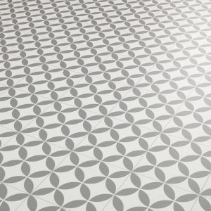 Grey And White Victorian Tile Effect Vinyl Flooring Sheet Verailles