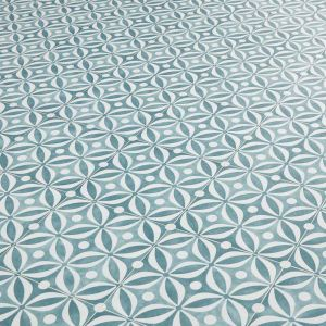 Cement Tile Design Vinyl Flooring Sheet In Teal With Cushioned Backing