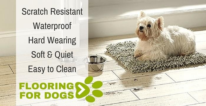 scratch resistant, waterproof, hard wearing, soft and quiet, easy to clean. Flooring for dogs